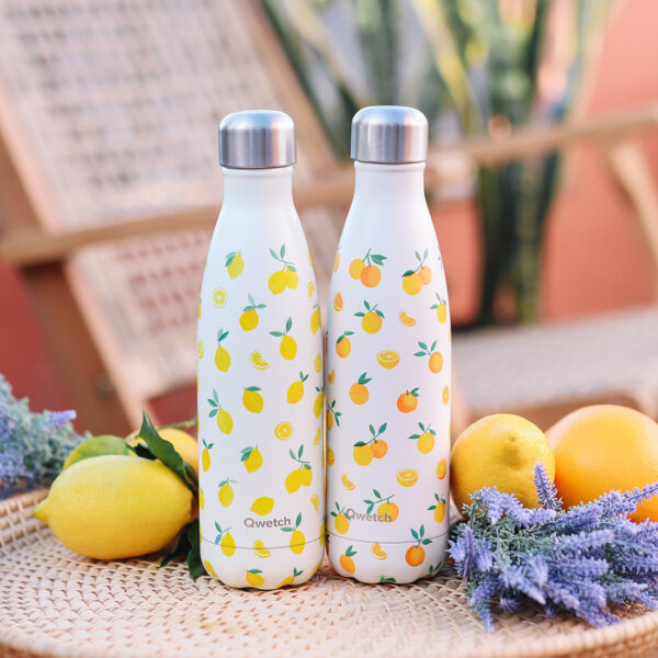 Bouteille isotherme printemps agrume